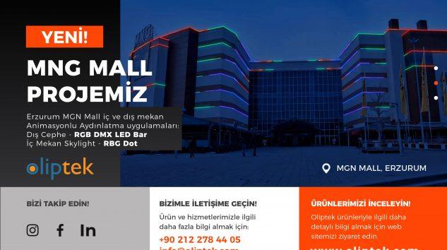 Erzurum MGN Mall iç ve dış mekan Animasyonlu Aydınlatma uygulamaları: